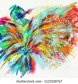Beautiful colorful abstract bird