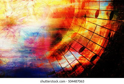 beautiful colorful collage with music motive on abstract background