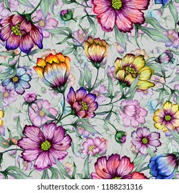 Beautiful colorful cosmos flowers with leaves on gray background. Seamless floral pattern.  Watercolor painting. Hand painted botanical illustration. Wallpaper, textile design.