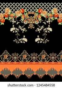 beautiful and colorful flowers with stylish pattern border design for textile and digital