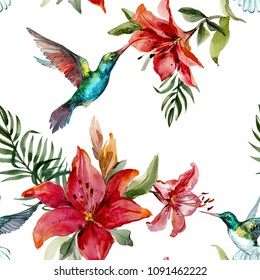Beautiful colorful flying hummingbirds and bright flowers on white background. Exotic tropical seamless pattern. Watecolor painting. Hand painted illustration. Wallpaper, fabric design.