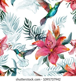 Beautiful colorful flying hummingbirds and red lily flowers on white background. Exotic tropical seamless pattern. Watecolor painting. Hand painted illustration. Wallpaper, fabric design.