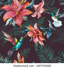 Beautiful colorful flying hummingbirds and red lily flowers on brown background. Exotic tropical seamless pattern. Watecolor painting. Hand painted illustration. Wallpaper, fabric design.