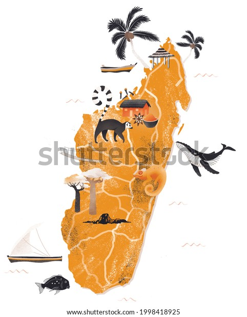 Beautiful and colorful illustrated map of Madagascar, island with palm trees, baobab, whale, fish, boat, lemur. Local specialities, touristic places, nature reserve. Textured hand-drawn illustration.