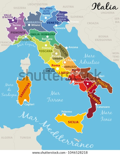 Regions Of Italy Map With Cities.Beautiful Colorful Map Italy Italian Regions Stock