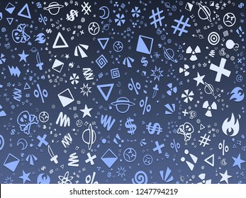 Beautiful colorful parallax background abstract cute pattern. Stylish graphic illustration for design, wallpaper, invitation. Art icons social network texture.