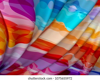 Beautiful Colorful Satin for Drapery Abstract Background. Color Silk Fabric.