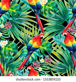Beautiful colorful tropical parrot seamless pattern