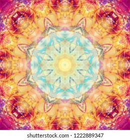Beautiful colorful unique kaleidoscope design. Seamless pattern. Bright flower.