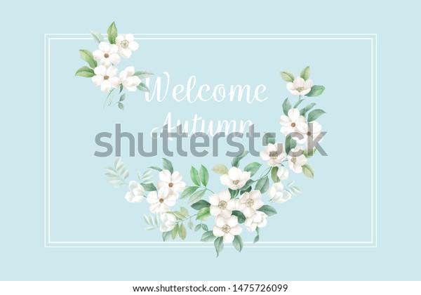 Beautiful Combination Small White Flowers Very Stock