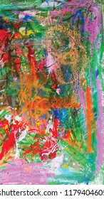 beautiful composition of colorful abstract art expression with fun painting and draw on canvas paper