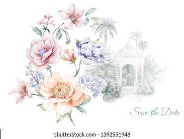 Beautiful computer-drawn colorful flower,Invitation card for wedding with watercolor flowers