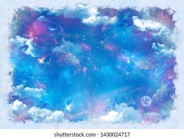 Beautiful cosmic ceiling -  night sky.   Digital collage, mural and mural. Wallpaper. Poster design. Modular panel. 3d render
