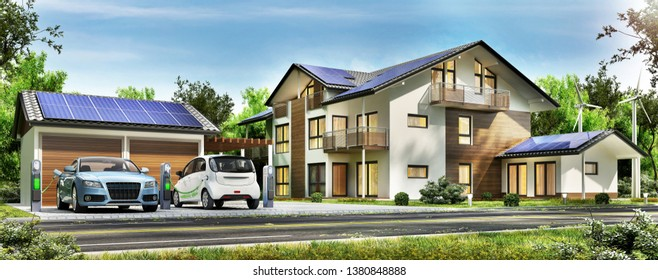 Beautiful country house with solar panels on the roof and electric cars on charge. Modern house. 3d rendering