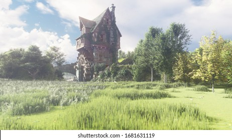 Beautiful countryside with a pond and a water mill. The mill wheel rotates under the pressure of the water flow. 3D Rendering