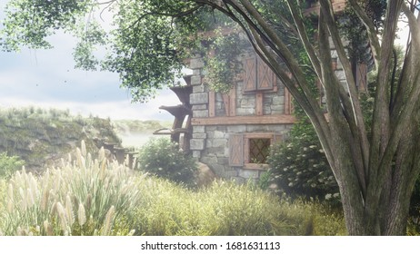 Beautiful countryside with a water mill. The mill wheel rotates against the background of beautiful summer nature. 3D Rendering