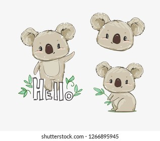 Beautiful Cute childish print Set with koala. Sketch Hand Drawn Animal koala textile design illustration.
