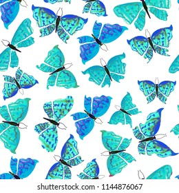 Beautiful and cute pattern with blue butterflies on white background. Dreamy romantic artistic image. Hand drawn watercolor illustration.