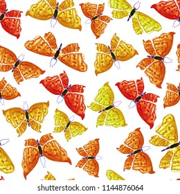 Beautiful and cute pattern with yellow and orange butterflies on white background. Dreamy romantic artistic image. Hand drawn watercolor illustration.