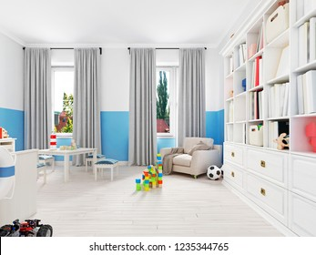 Beautiful and cute toys in a child's room. 3d rendering