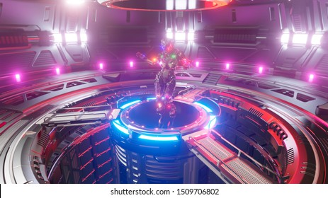 Beautiful cyber girl dancing and moving in neon cyber club. Sci-Fi futuristic cyber dance VJ for background and titles. Dancing in the neon cyberspace. 3D Rendering