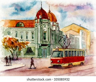 Beautiful czech tram in the city watercolor painted illustration hand work original textile