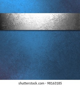 beautiful dark blue background with antique silver ribbon illustration has old hammered vintage grunge texture and blank copy space for ad or brochure or website template