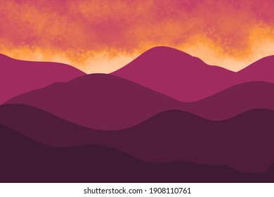 Beautiful dark red and orange mountain landscape. Sunrise and sunset in mountains. Natural background in Japanese style. Travel, adventure, calm energy concept. Outdoor layout design in oriental style