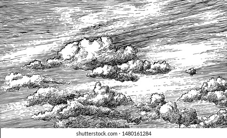 Beautiful dashed hand draw clouds in the sky. Linear background. Pen and ink renaissance book etching / engraving style illustration. Line art with lights and shadows.