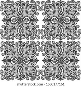 Beautiful Dashiki Lustrage Arabesque. Reprint Dashiki Antique. Azulejo Contrast Light Ceramic. Black and White color. Square Aquarelle achromatic Arabesque.