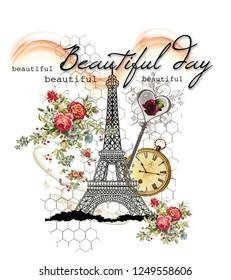 beautiful day flowers oclock slogan tshirt