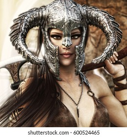 Beautiful and deadly fantasy warrior female wearing a traditional barbarian style costume. 3d rendering