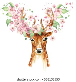 Beautiful deer, big antlers, spring flowers on the horns, branches, cherry blossom. Watercolor