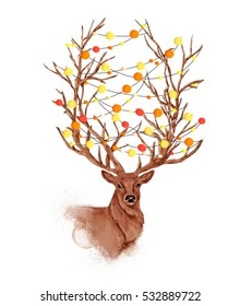 Beautiful deer with lights on horns watercolor Christmas illustration / can be used for postcards/ t-shirt / wallpaper/ prints