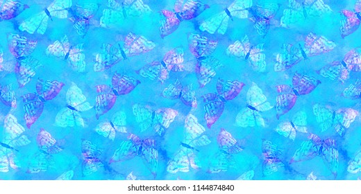 Beautiful delicate pattern with elegant butterflies on blue background. Dreamy romantic artistic image. Hand drawn watercolor illustration horizontal position