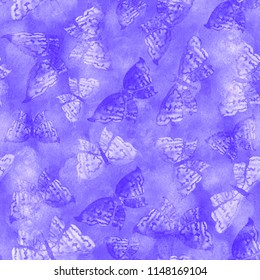 Beautiful delicate pattern in violet colors with elegant butterflies on blue background. Dreamy romantic artistic image in pastel colors.