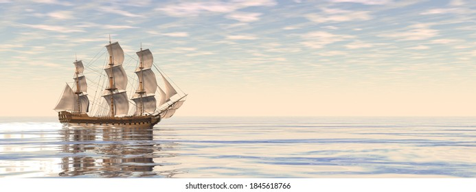 Beautiful detailed old merchant ship by sunset - 3D render