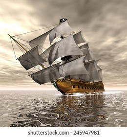 Beautiful detailed Pirate Ship, floating on the ocean by cloudy sunset - 3D render