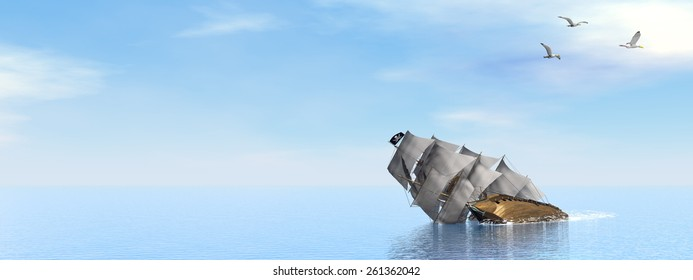 Beautiful detailed Pirate Ship sinking on the ocean surrounded with seagulls by day - 3D render