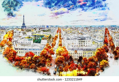 Beautiful Digital Watercolor Painting of Paris, France with the Eiffel Tower and streets in autumn.