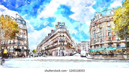 Beautiful Digital Watercolor Painting of the Streets of Paris, France. Blue sky, buildings and traffic. Autumn colors.