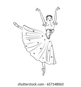 Beautiful drawing ballerina on a white background, sketch
