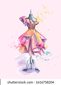 Beautiful Dress with Folds on Mannequin. Hand Painted Watercolor Fashion Illustration. Sweet Sketch. Dummy, Beauty, Style and Sewing Concept. Women's Day Card