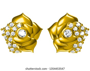 Beautiful earrings on white background .3D rendering