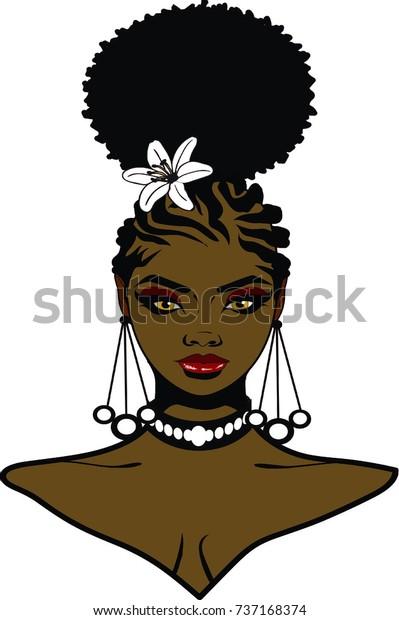 Beautiful Ebony Woman Afro Puff Hairstyle Stock Illustration
