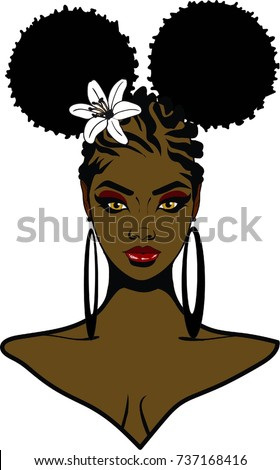 Beautiful Ebony Woman Afro Puffs Hairstyle Stock Illustration