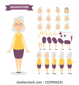 Beautiful elderly woman character set for animation with various views, hairstyles, face emotions, poses and gestures. Front, side and back view. Isolated  illustration in cartoon style