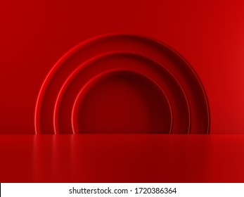 Beautiful, elegant background with 3d showcase. 3d rendering. 3d stage and podium. Luxury, toy, doll. Beige. Red. Blue.