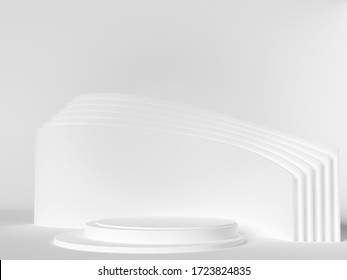 Beautiful, elegant background with white pedestal and a showcase. 3d illustration, 3d rendering
