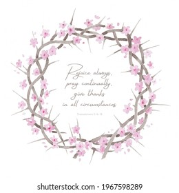 Beautiful elegant watercolor crown of thorns resurrection illustration with inspiring comforting Bible quote